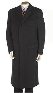 GHN873 LANZINO Full Length Solid Liquid Jet Black overcoats