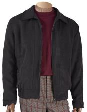 JSM-5449 Mens Black Chenille Short jacket with knit trim