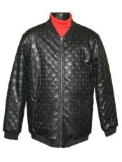 Mens Leather Designed Zip