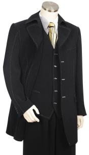 JA133 Mens Button Fastener Trench Collar Black Zoot Suit