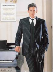 Pinstriped Tuxedo Suit Black/White