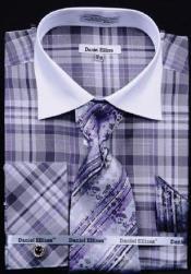 AC-435 Checker Pattern Dress Fashion Shirt/ Tie / Hanky