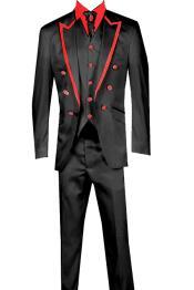 KA8965 3 Piece Jacket+Trouser+Waistcoat White/Black Trimming Tailcoat Tuxedos Suit/Jacket-