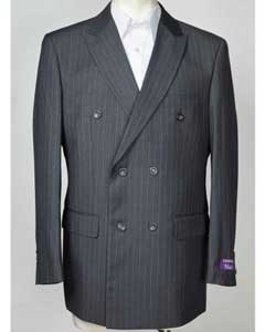SM608 Peak Lapel Pinstripe Blue 6 Button Double Breasted