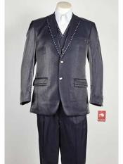 SM1030 3 Piece Blue Notch Lapel Sharkskin Rhinestone Entertainer