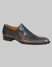 JSM-6013 Mens Mezlan Custom Loafers Blue Two Tone Crocodile