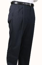 AL9235 Char Blue Parker Pleated Slacks Pants Lined Trousers