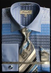 MK665 Fratello Big and Tall French Cuff Printed Pattern
