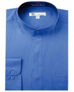 R-89E Band Collar Dress Shirts Blue