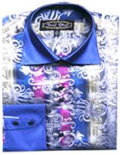 PN_N67 Fancy Shirts Blue/White (100% Polyester) Flashy Shiny Satin