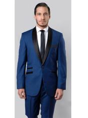 RA53 Slim narrow Style Fit Tuxedo Shawl Lapel BlackBlue