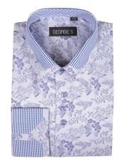 JSM-4000 Mens Floral Pattern Cotton Blend Blue Classic Fit