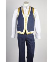 JSM-532 Mens Blue Matching Vest & Pants Set