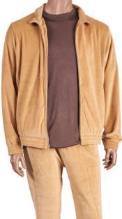 Isch50 Camel Velour Jogging trendy casual Walking Suit Set