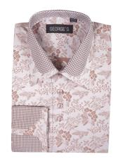 JSM-4001 Mens Cotton Blend Brown Classic Fit Floral Pattern