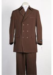 JSM-292 Mens Brown Double Breasted Suit Wide Leg Pleated