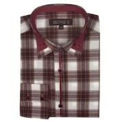 SM492 brown color shade Long Sleeve Dress Shirt Plaids