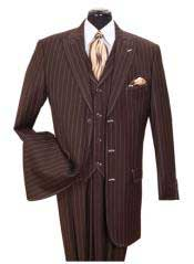 SS-145 Vested 3 Piece pronounce visible Chalk Gangster Pinstripe