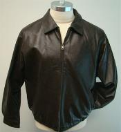 RM1637 Leather Bomber Jacket And Bottom Elastic Waist Brown