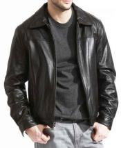 JSM-819 Mens Brown Pebble Grain Lambskin Leather Front Zipper