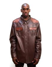 AP605 G-Gator Mens Brown Button closure Leather Shirt with
