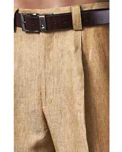 SM842 Pleated Slacks Summer brown color shade 100% Linen