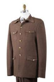 AA443 Safari brown color shade Nailshead Military Pocket Suit