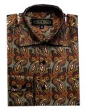 PN_E68 Fancy Shirts brown color shade (100% Polyester) Flashy