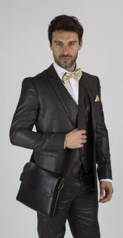 Notch Lapel brown color shade