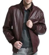 Mens Burgundy Full Sleeve Moto