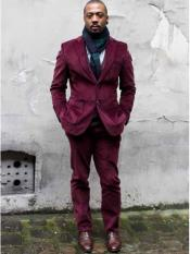 Mens CORDUROY Burgundy SUIT (