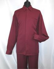 JSM-976 Mens Hidden Buttons Burgundy Collared Long Sleeve Walking
