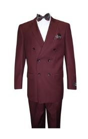 SS-4105 Burgundy Classic Double Breasted Solid Color Suit