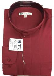 AA411 Dress Shirt with no collar mandarin Collar BurgundyWhite