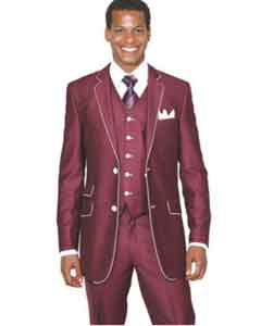 MK426 Slim narrow Style Suit by Milano Moda Burgundy