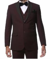 MK427 Burgundy Peak Lapel 1 button Style  Slim