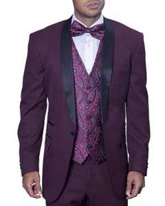Maroon Burgundy Tuxedo Suit /