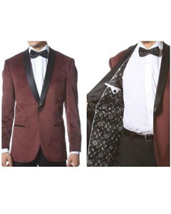 AB130 Velvet Shawl Collar Dinner Smoking Velour Jacket Notch