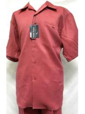 SM714 2 Piece Red Linen Short Sleeve Walking trendy