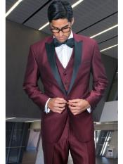 RA66 Peak Lapel 3 Piece Wool Fabric Tuxedo Suit