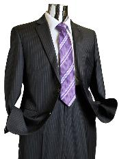 CHL6713 Dark Grey Masculine color Pinstripe 100% Wool Fabric