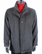 JSM-1038 Mens Charcoal Gray Wool Cashmere Solid Pattern Warm