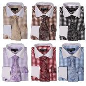 Checker Dress Shirt French Cuff