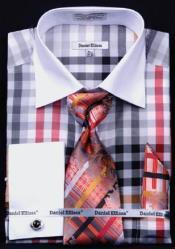 AC-442 Checker Pattern Dress Fashion Shirt/ Tie / Hanky