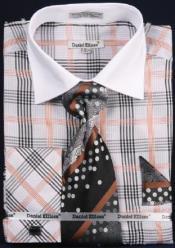 AC-443 Checker Pattern Two Tone Dress Fashion Shirt/ Tie