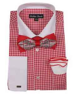Product#SM486ChecksShirtredcolorshadeFrenchCuffWith