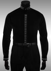 GB845 Liquid Jet Black White Cross Crown Clergy Collar