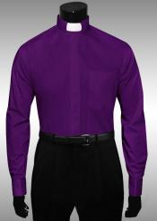 CX308 Purple color shade Clergy Tab Collar French Cuff