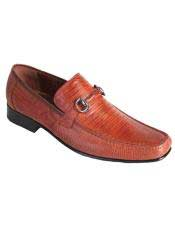 JSM-4983 Mens Cognac Casual Slip On Loafer Genuine Lizard