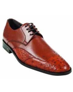 MK919 Ostrich Full Quill Skin Cognac Dress Shoe